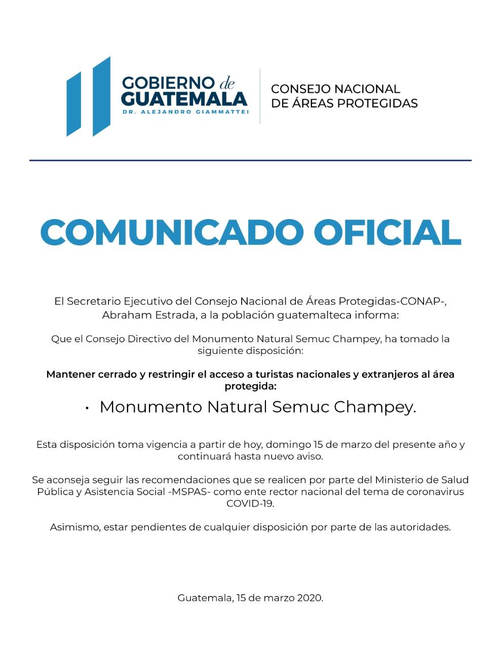 Cerrado y restringido el acceso al Monumento Natural Semuc Champey
