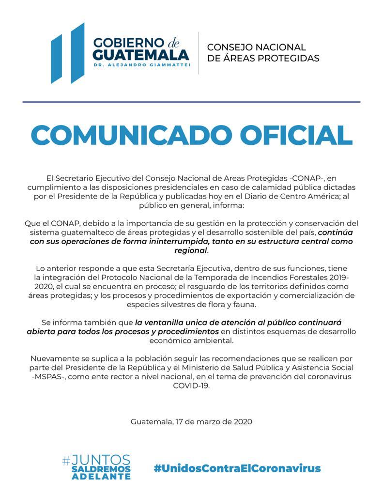 El Secretario Ejecutivo del CONAP, Abraham Estrada en cumplimiento a las disposiciones presidenciales dictadas por el Estado de Calamidad Pública, a la población informa:
