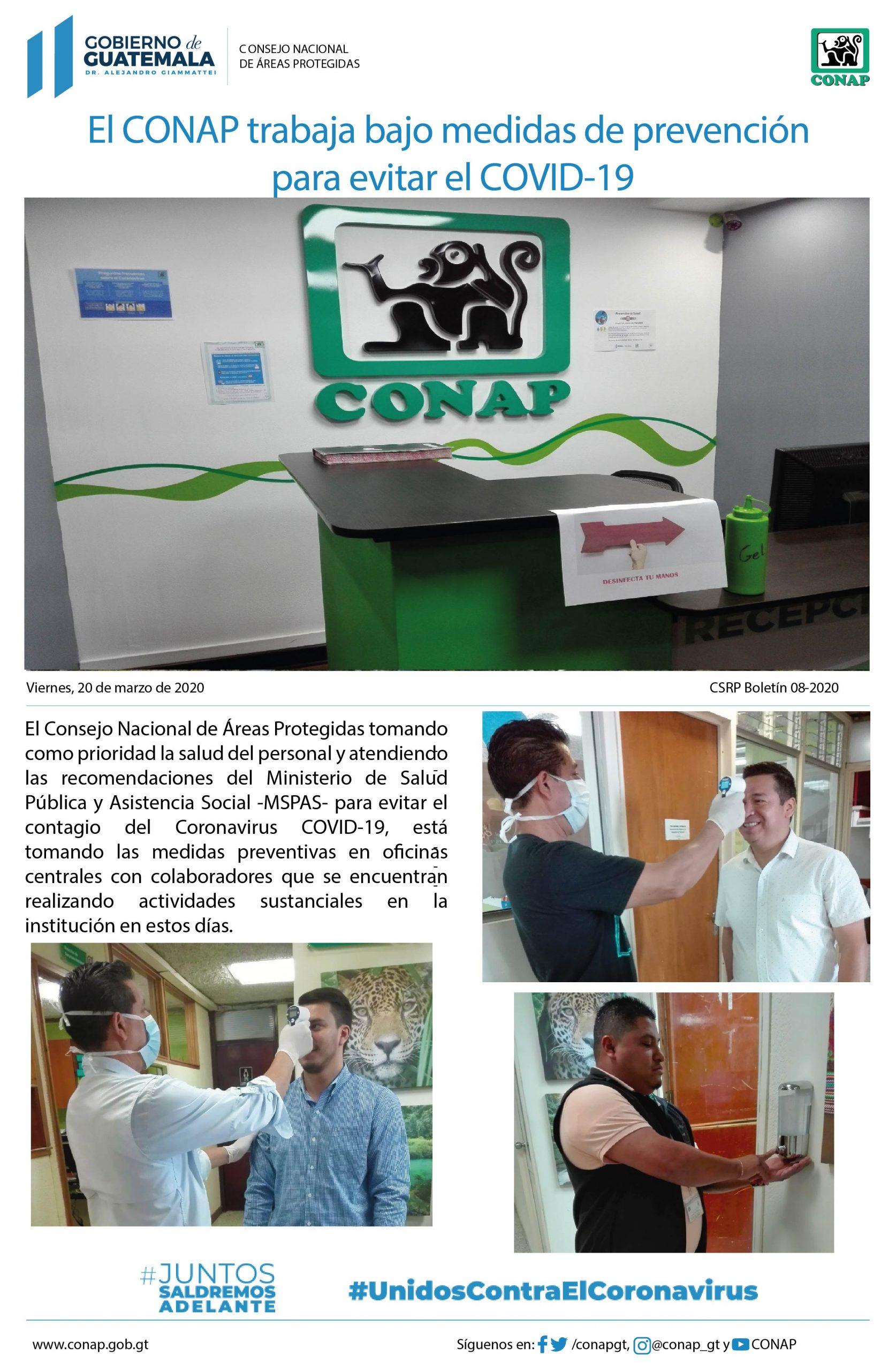 El CONAP trabaja bajo medidas de prevención  para evitar el COVID-19
