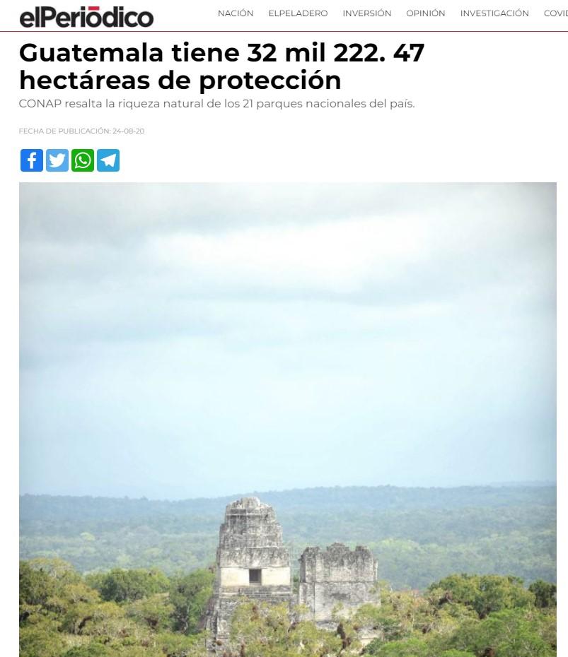 Guatemala tiene 32 mil 222. 47 hectáreas de protección