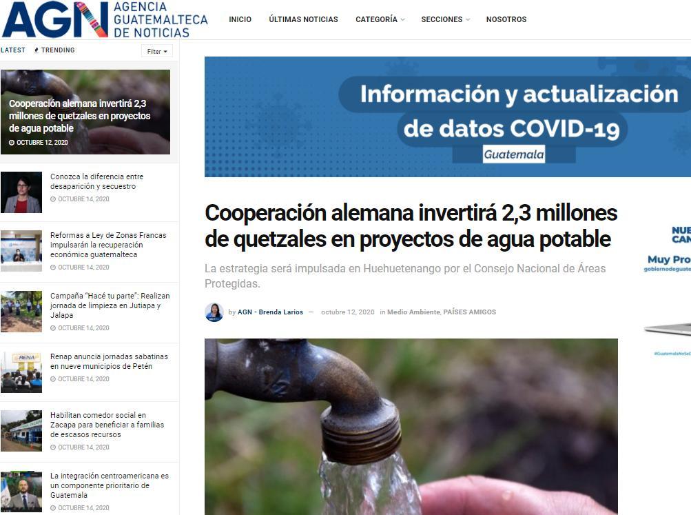 Cooperación alemana invertirá 2,3 millones de quetzales en proyectos de agua potable