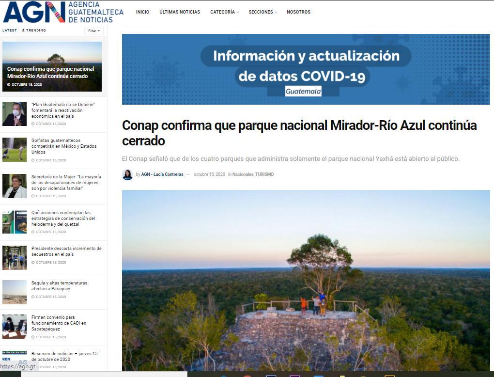 Conap confirma que parque nacional Mirador-Río Azul continúa cerrado